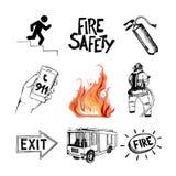 Brandveiligheid en middelen van redding Geplaatste pictogrammen Royalty-vrije Stock Afbeeldingen