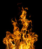 Brandvlammen op zwarte Stock Foto