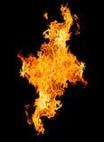 Brandvlammen - op zwarte achtergrond worden geïsoleerd die royalty-vrije stock foto