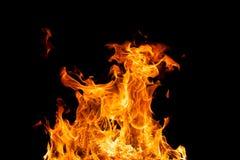 Brandvlammen - op zwarte achtergrond worden geïsoleerd die stock fotografie