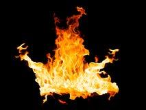 Brandvlammen - op zwarte achtergrond worden geïsoleerd die stock foto's
