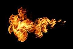 Brandvlammen op zwarte worden geïsoleerd die Royalty-vrije Stock Afbeeldingen