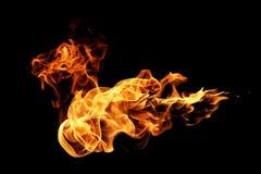 Brandvlammen op zwarte worden geïsoleerd die Royalty-vrije Stock Fotografie