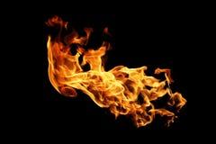 Brandvlammen op zwarte worden geïsoleerd die Royalty-vrije Stock Foto's