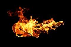 Brandvlammen op zwarte worden geïsoleerd die Royalty-vrije Stock Foto