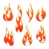 Brandvlammen van verschillende vormen Stock Foto's