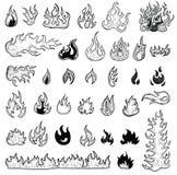 Brandvlammen, vastgestelde pictogrammen, vectorillustratie Royalty-vrije Stock Foto