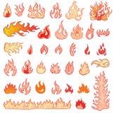Brandvlammen, vastgestelde pictogrammen, vectorillustratie Royalty-vrije Stock Afbeeldingen