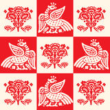 Brandvogel Phoenix, Naadloos Patroon, Vectorillustratie Firebirdembleem Stock Foto