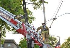 Brandweerlieden op een ladder stock afbeelding
