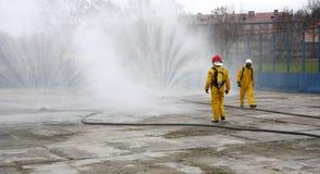 Brandweerlieden tijdens actie Royalty-vrije Stock Afbeelding