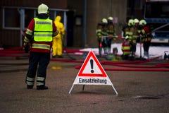 Brandweerman in actie Royalty-vrije Stock Foto's