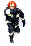 Brandweerman in actie Royalty-vrije Stock Afbeeldingen