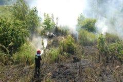 Brandweerman die een dopheidebrand in Gdansk, Polen bestrijdt Stock Fotografie