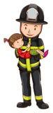 Brandweerman en meisje Stock Foto's