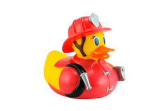 Brandweerman Gele rubbereend Royalty-vrije Stock Foto