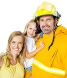 Brandweerman met Familie royalty-vrije stock foto's