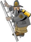Brandweerman op een ladder royalty-vrije illustratie