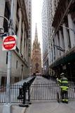 Brandweerman op Wall Street Stock Fotografie