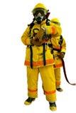 Brandweerman op wit wordt geïsoleerd dat Stock Foto