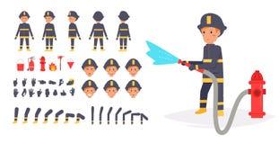 Brandweerman voor animatie Stelt voorzijde, royalty-vrije illustratie