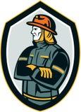 Brandweermanbrandbestrijder Retro Arms Folded Shield Stock Afbeelding