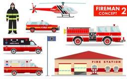 Brandweermanconcept Gedetailleerde illustratie van brandbestrijder, de brandweerkazernebouw, firetruck en helikopter in vlakke st Stock Foto