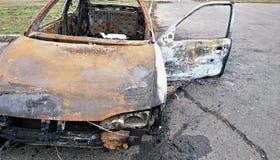 Brandwond uit auto stock afbeelding