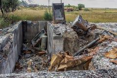 Brandwond uit kelderverdieping stock fotografie