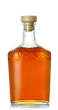 Brandy butelka z drewnianym stopper Zdjęcie Royalty Free