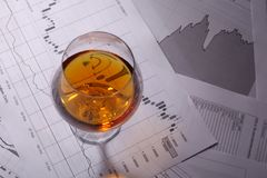 Brandy on charts Royalty Free Stock Photography