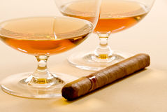 Brandy and Cigar Royalty Free Stock Photo