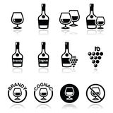 Brandy and cognac vector icons set Royalty Free Stock Image