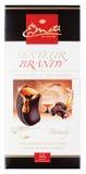Brandy de Emoti de Chocolat Senteur - barra de chocolate oscura con el brandy aislado en blanco Fotografía de archivo