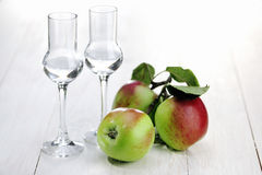 Brandy de la fruta, brandy de Apple, Grappa Imágenes de archivo libres de regalías