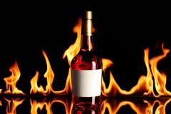 Brandy del vino su fuoco Fotografie Stock Libere da Diritti
