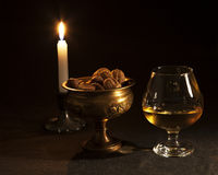 Brandy e noci Fotografia Stock