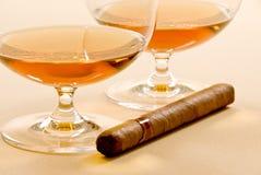 Brandy e sigaro Fotografia Stock Libera da Diritti