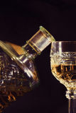 Brandy and glass. Cognac. Brandy Glass and bottle on white background Stock Photo