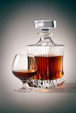 Brandy Glass and bottle. With clipping path Stock Photography