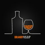 Brandy glass bottle menu background. 8 eps stock illustration