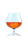 Brandy glass with ice cubes Stock Photo