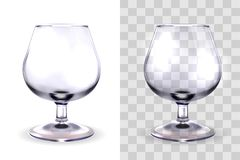 Brandy glass transparent. Realistic glasses for alcohol, snifter, vector illustration isolated on white and transparent background. Mock up, template of strong vector illustration