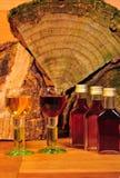 Brandy glass wood Stock Photo