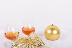 Brandy glasses with candles decoration Stock Photos