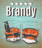 Brandy in glasses on grunge background. Retro style.Premium quality-five stars Stock Photography