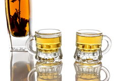 Brandy with herb and two glasses Stock Photo