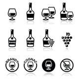 Brandy i koniaka wektorowe ikony ustawiać Obraz Royalty Free