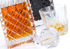 Brandy and Port crystal decanters Stock Photos