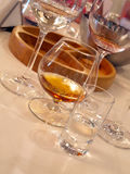 Brandy Tasting. Wineglass with brandy are ready for a tasting Stock Photo